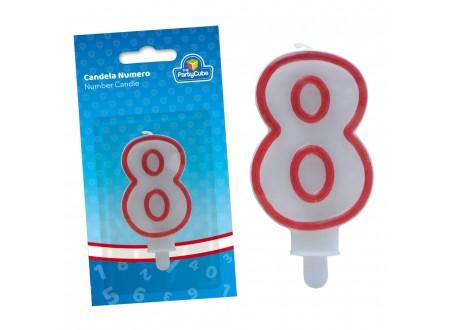 """CANDELA 6,5 CM C/PORTACANDELA - BORDO ROSSO NR.""""8"""""""