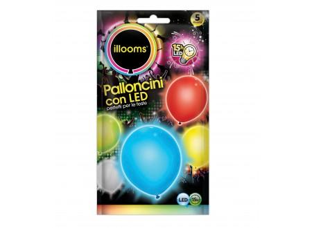 "Palloncini Led ""Illooms"" - colori assortiti cf. 5"